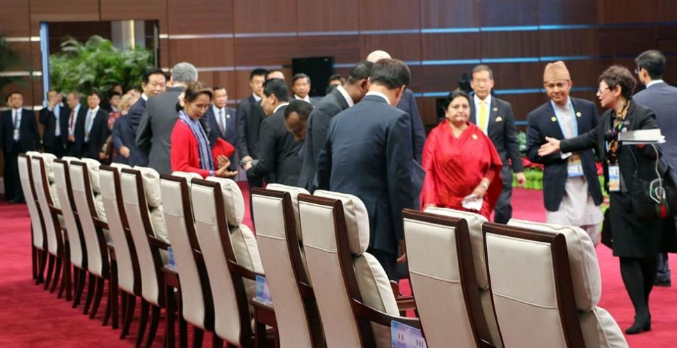 राष्ट्रपति भण्डारी चिनियाँ समकक्षीद्वारा आयोजित रात्रिभोजमा सरिक