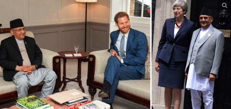 प्रधानमन्त्री लन्डनमा : राजकुमार ह्यारी र प्रधानमन्त्री मेसँग भेटवार्ता