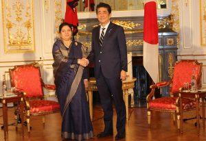 राष्ट्रपति विद्यादेवी भण्डारी र जापानका प्रधानमन्त्री सिन्जो आबे